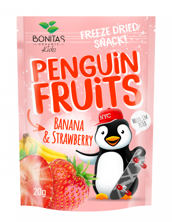 BONITAS BIO Penguin Fruits Banán & Jahoda 15g