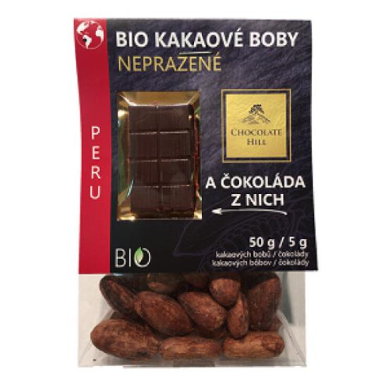 BIO Kakaové boby nepražené + čokoládka Peru 55g 55g