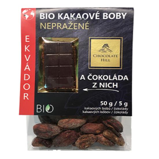 BIO Kakaové boby nepražené + čokoládka Ekvádor 55g 55g