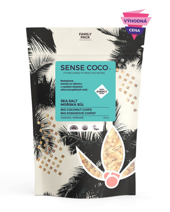 Sense Coco Kokosové chipsy s mořskou solí BIO 250 g