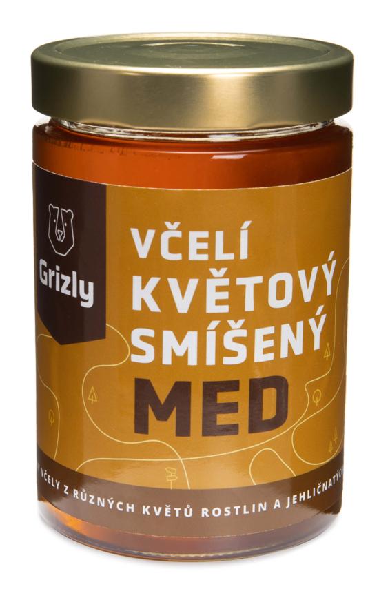GRIZLY Květový smíšený český med 720 g