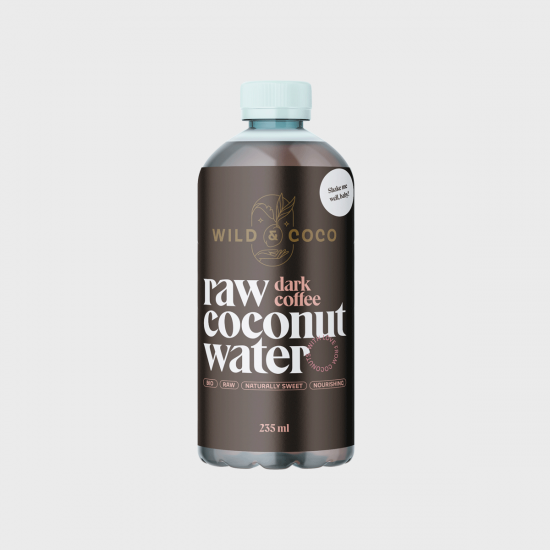 Raw kokosová voda s cold-brew kávou